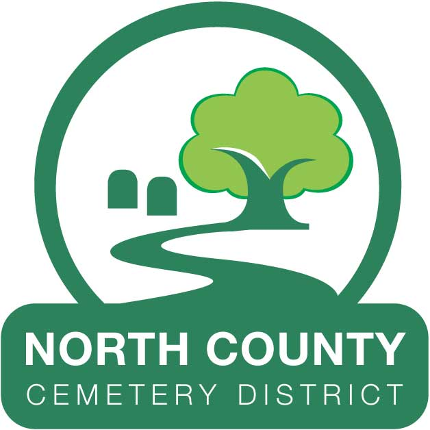 North County Cemetery District Logo of tree and path.