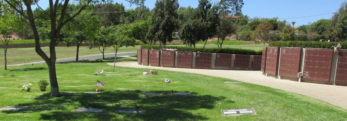 Grave Markers and Niches Image at San Marcos Cemetery.